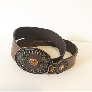 Chico's Embellished Buckle Leather Belt